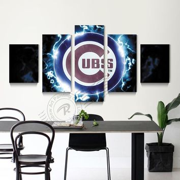 5 Panel Chicago Cubs Baseball Sport Logo Wall Painting Canvas Art Home Decor Wall Picture For Bed Room Print Unframd BR0179