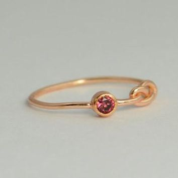Solid 14k Rose Gold Alexandrite Infinity Ring