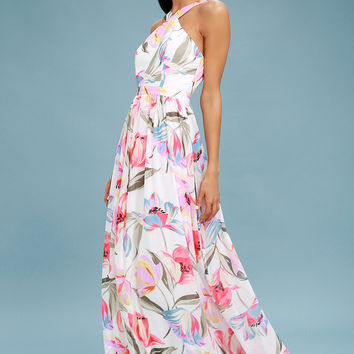Lilja White Floral Print Maxi Dress