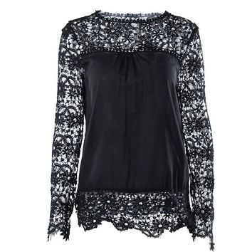 Plus Size XL to 7XL Sexy Women Lace Blouse Hollow Out Shirts Crew Neck Long Sleeves Elegant Office Ladies Tops