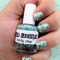Minty Chip:  Custom-Blended Glitter Nail Polish / Lacquer (One regular size bottle 15 ml size)