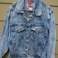 Vintage 80s Acid Wash Denim Jean Jacket Size Medium by International Stefano Sportswear