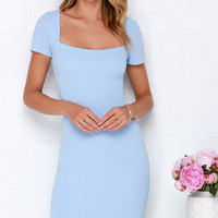 Photo Opportunist Powder Blue Bodycon Midi Dress