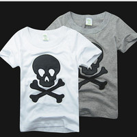 Summer Children's T Shirt  Skull Head Pure Cotton Embroidery Boy Tee Shirts Baby Kids Topwear Casual T-Shirts Clothing GX52