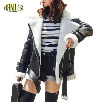 Shearling Coat Women 2018 New Winter Locomotive Leather Coat Sheep Shearing Warm Long sleeve Wool Coat Female Outwear DAN367