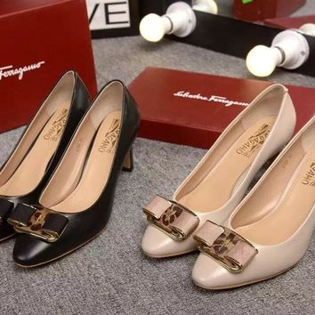 Salvatore Ferragamo Women's High-heeled Leather Sneakers Shoes