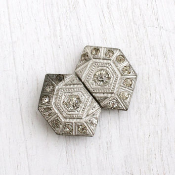 Antique Art Deco Rhinestone Belt Buckle - 1920s 1930s Silver tone Faux Diamond Fashion Accessory / Geometric pair