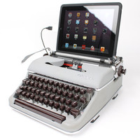 USB Typewriter Computer Keyboard -- Light Gray Olympia SM -- 1960s Mad Men Style