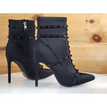 5a77eb1e2aac So Me Billie Black Pointy Toe High Heel Ankle Boot Cage Studded Straps