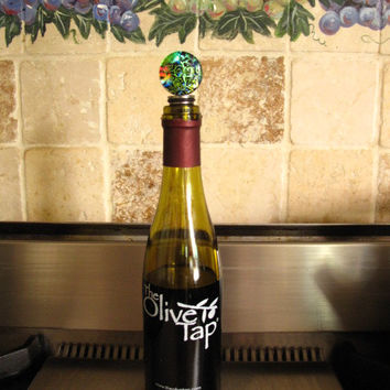 Stainless Steel Dichroic Wine Bottle - Bottle Cork   - Stop - FDA Approved - Fused Dichroic Glass Bottle Stop - Made in USA - 070714ws100