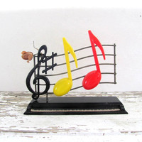 STOREWIDE SALE...vintage plastic Musical Notes and Piano salt and pepper shakers