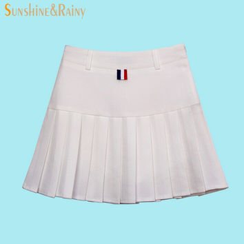 autumn summer brand girls pleated half skirts schoolgirls skirt uniforms cos candy color high  waist solid mini skirt female