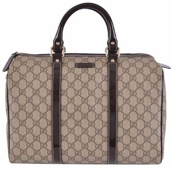 GON3F Gucci Women's Beige Brown GG Supreme Canvas Boston Purse Satchel
