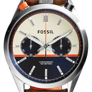 Men's Fossil 'Del Rey' Chronograph Leather Strap Watch, 43mm - Brown/ Silver