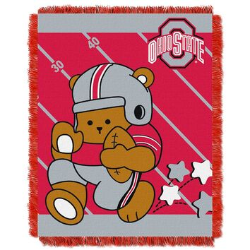 "Ohio State Buckeyes NCAA Triple Woven Jacquard Throw (Fullback Baby Series) (36x48"")"""
