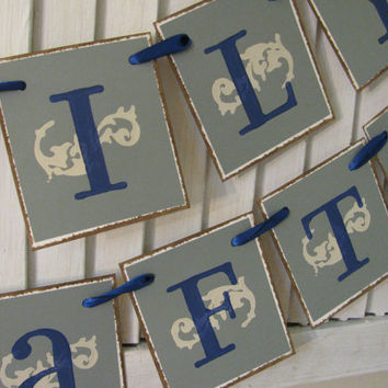 Happily Ever After Wedding Banner Bunting Garland in Gray, Navy and Cream Lovely Wedding Picture Photo Prop Can Custom Colors