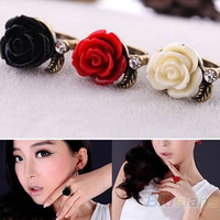 New Fashion Cute Rhinestone Crystal Rose Flowers Adjustable Rings Ring Gift = 1946091972