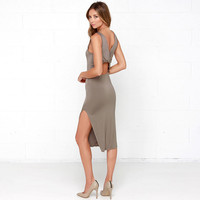 Brown Sleeveless Bodycon Mid Dress with Slit