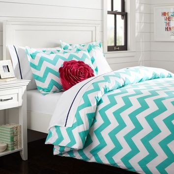 Chevron Duvet Cover, Full/Queen, Pool