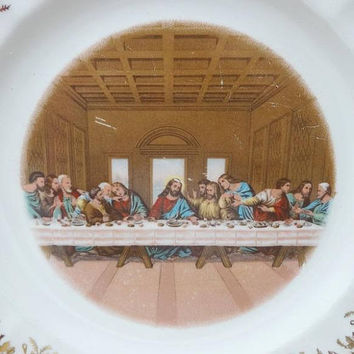 1960s Vintage Lord's Last Supper Decorative Plate, 23 K Gold Trim, 1st Edition, Sanders Mfg. Co., Nashville, 9.75 Inch, Vintage Religious