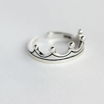 925 sterling sliver crown opening ring,cute crown ring,a perfect gift