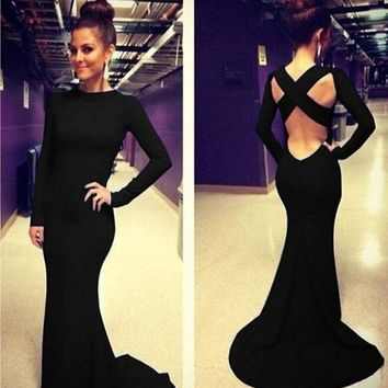 ESBOND Fashion Women Long Sleeve Prom Ball Cocktail Party Dress Formal Evening Gown