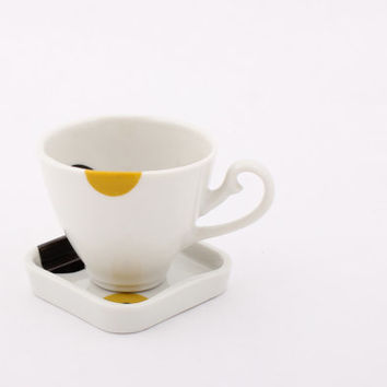 Ready to ship! - Porcelain Coffee Cup and Saucer  - Historical handle - Espresso - Black/Yellow - Geometric/Dotted - Kitchen/Home