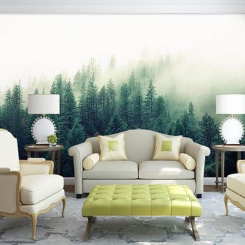 Bacaz Custom 3d Papel Murals Nature Fog Trees Forest Wallpaper for Sofa Background 3d Wall Photo Mural Wall paper 3D Wall Murals