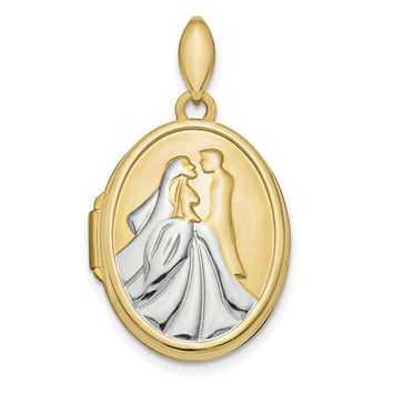 14k & Rhodium Polished Bride and Groom Oval Locket XL725
