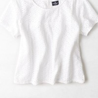 AEO Women's Embroidered Eyelet T-shirt
