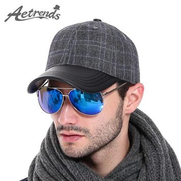 [AETRENDS] 2016 Men's Cotton Leather Baseball Cap Winter Polo Hat Z-3888