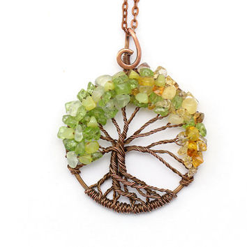 Tree-Of-Life Necklace Pendant Tree-Of-Life Jewelry Copper Pendant Wire Tree Of Life Wire Wrapped Pendant Chrysolite Prehnite Citrine Amber