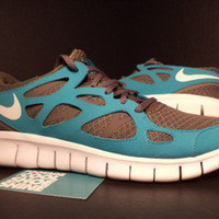 Nike Air FREE RUN + II 2 SMOKE GREY WHITE TURQUOISE BLUE GREEN 443815-213 10.5