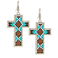 Women's Brown and Turquoise Cross Earrings