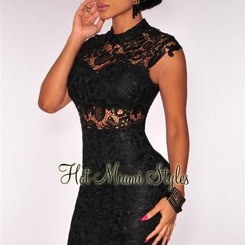 Black Crochet Embroidered Padded Dress