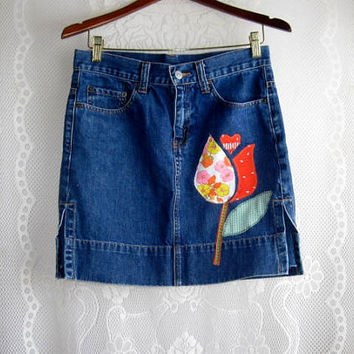 Upcycled Levi's  Red Tab Denim Skirt with Flower Applique size 5