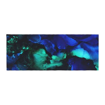 "Claire Day ""Neptune"" Blue Multicolor Painting Bed Runner"