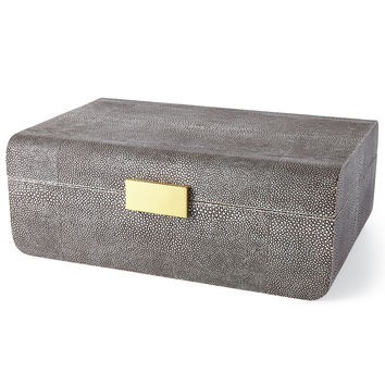 Large Chocolate-Shagreen Box - AERIN