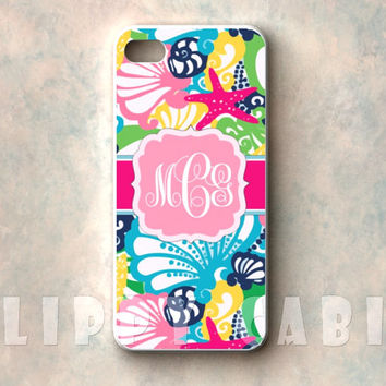 Handmade Custom Monogram Sublimation Case, Apple iPhone 5, 4, 4s, with Rubber Sides : Lilly Pulitzer Pattern, Chiquita Bonita, Sea Shells