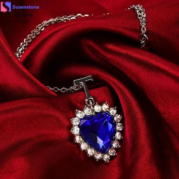 Elegant Silver Heart Of The Ocean Blue Crystal Necklace
