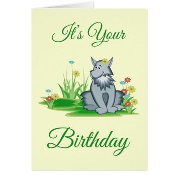 Retro Grey Wolf in Garden Birthday Greeting Card
