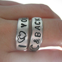 I love you to the moon and back Twist ring by giftforbestfriends