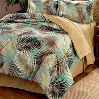 Bedding Ensemble 8 Piece Queen King Palm Tree Print Coastal Beach Tropical