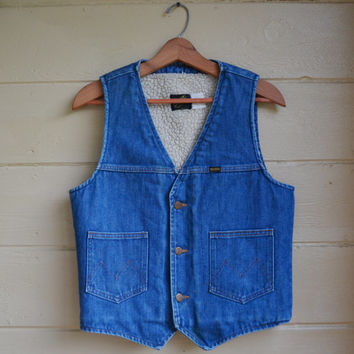 Vintage Denim Vest 70s Maverick Denim Vest Sherpa Lined Country Western Ranch Wear Men's Medium