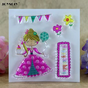 Happy Birthday Cute Girl Scrapbook DIY photo cards account rubber stamp clear stamp transparent stamp card DIY stamp 10*10cm