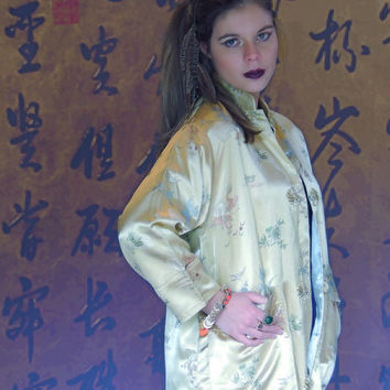 Oriental golden silk vintage kimono in satin brocade / Maxi le smoking duster coat / Stevie nicks hippie gypsy boho duster coat