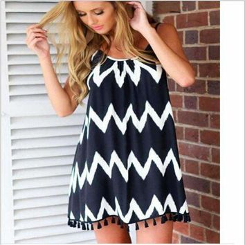 White Chevron Striped Dress/Tunic With Empire Waist Amd Pom Detailed Hem