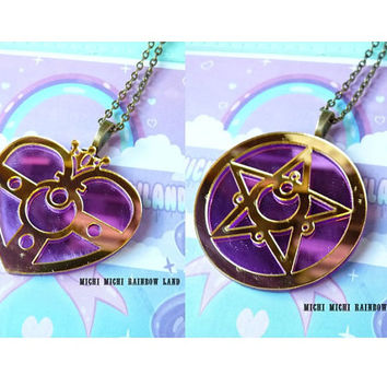 SALE! Sailor Moon Cosmic Heart or Round Compact Acrylic Necklace