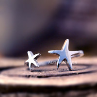 Simple two Stars Ring Adjustable Open ring Silver Plated Jewelry gift idea