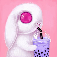 Bunny Loves Bubble Tea Art Print by Melanie Schultz | Society6